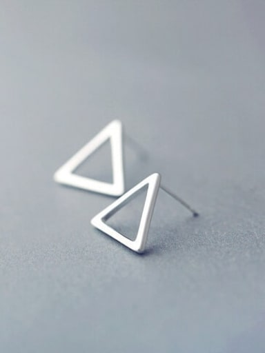 Triangle in C11 925 Sterling Silver  Hollow Geometric Minimalist Stud Earring