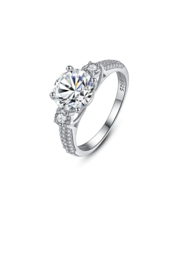 925 Sterling Silver Cubic Zirconia Simple stylish Geometric Luxury Band Ring