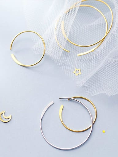 925 Sterling Silver Minimalist  Line Round Geometric Earrings  Hoop Earring