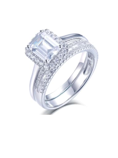 925 Sterling Silver Cubic Zirconia Geometric Luxury Band Ring
