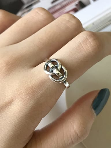925 Sterling Silver Hollow Geometric Vintage  free size Ring