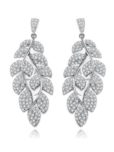 Copper Cubic Zirconia Leaf Luxury Cluster Earring