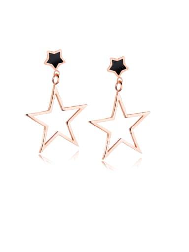 Titanium Enamel Star Minimalist Drop Earring