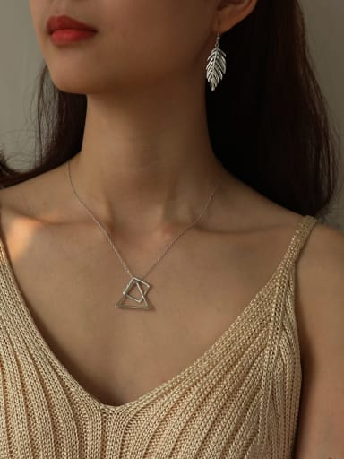 925 Sterling Silver Geometric triangle square Necklace