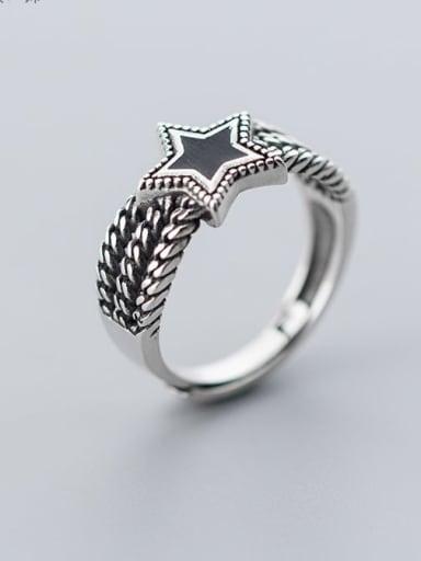 925 Sterling Silver Enamel Black Star Vintage Free Size Ring