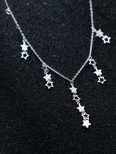925 Sterling Silver  Minimalist  Hollow Star Tassel  Necklace