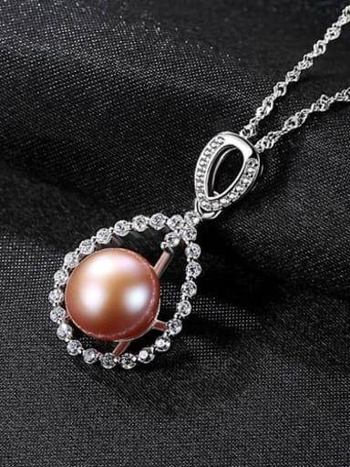 Purple 6d06 925 Sterling Silver 3A Zircon Freshwater Pearl Pendant Necklace