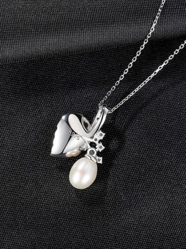 White 7A10 925 Sterling Silver Imitation Pearl Leaf Vintage Necklace