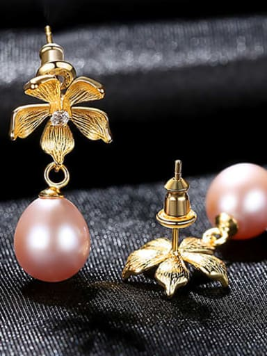 Purple 3h12 925 Sterling Silver Freshwater Pearl Flower Vintage Drop Earring
