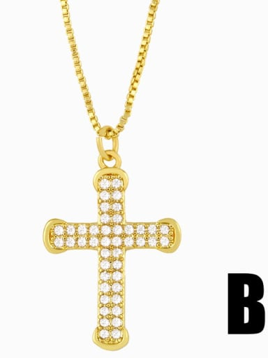 B Copper Cubic Zirconia Cross Vintage Pendant Necklace