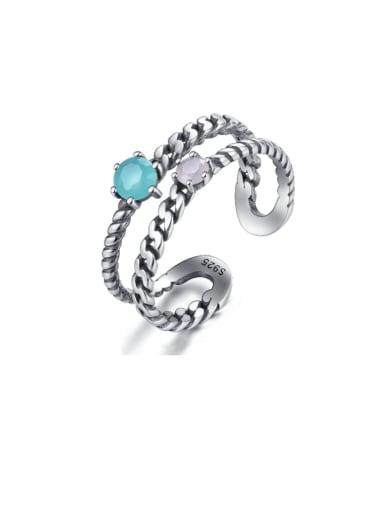 925 Sterling Silver Vintage hemp rope Stackable Ring