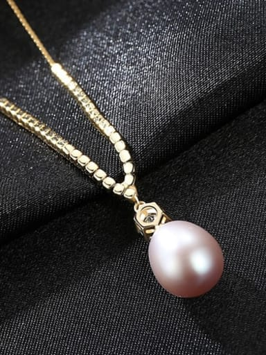 Purple 5F04 S925 Sterling Silver with 3A zircon  freshwater pearl  Necklace