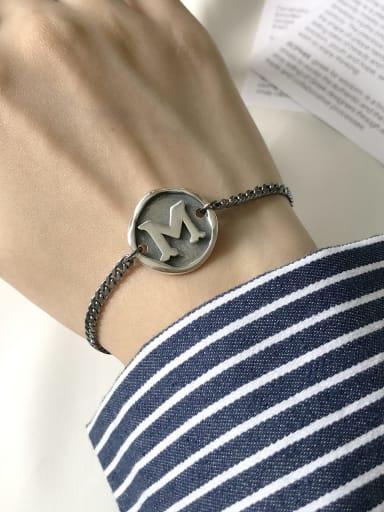 925 Sterling Silver Letter-M Vintage Link Bracelet