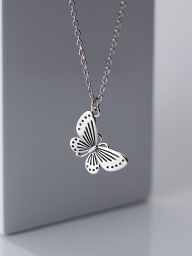 925 Sterling Silver Butterfly Vintage  Pendant  Necklace