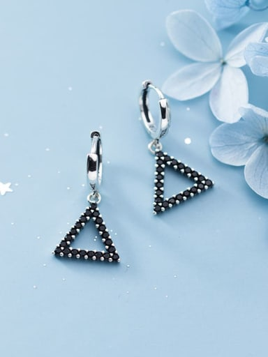 925 Sterling Silver Rhinestone Black Triangle Minimalist Huggie Earring