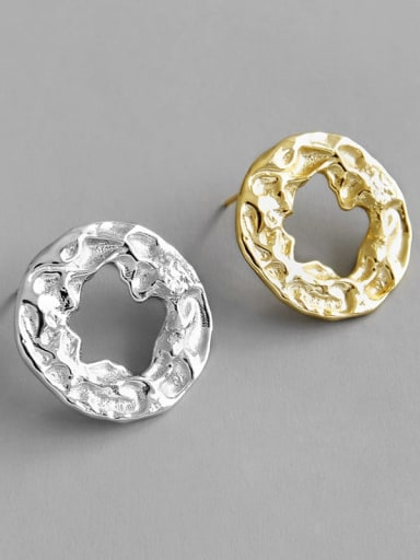 925 Sterling Silver Geometric ring irregular concave convex wrinkled earnail