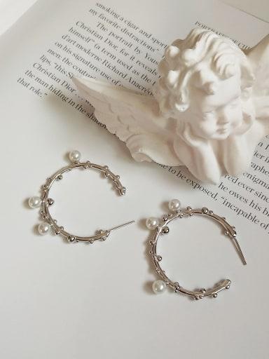 925 Sterling Silver Imitation Pearl Geometric Vintage Hoop Earring