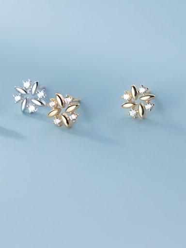 925 Sterling Silver Rhinestone Flower Cute Earring