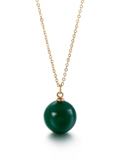 green Stainless Steel Imitation Pearl Multi Color Necklace