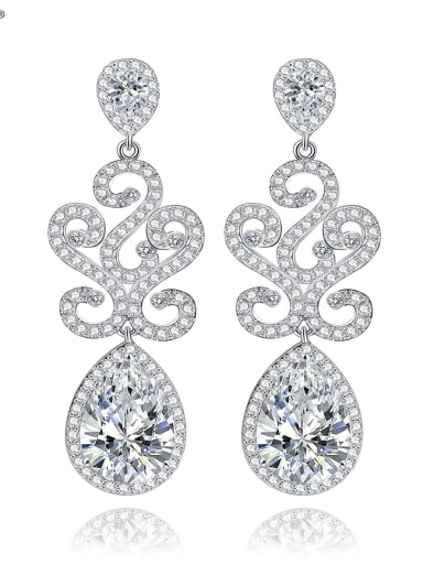 Copper Cubic Zirconia White Water Drop Luxury Cluster Earring