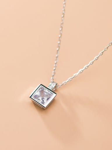925 Sterling Silver With Platinum Plated Fashion Square Necklaces