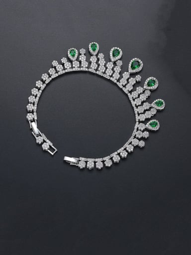 Green Copper Cubic Zirconia Tassel Luxury Bracelet
