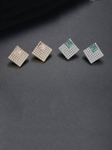 Copper Cubic Zirconia Square Luxury Stud Earring