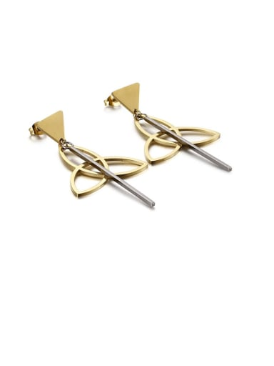 gold black Stainless Steel Hollow Triangle Minimalist Drop Earring