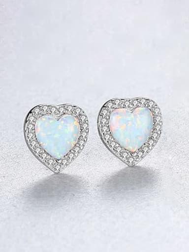 White zirconium 18h09 925 Sterling Silver Opal Heart Dainty Stud Earring