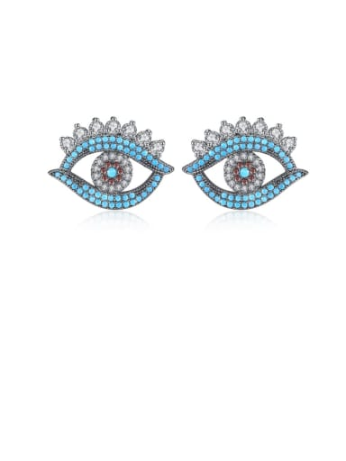 Copper Cubic Zirconia Evil Eye Vintage Stud Earring