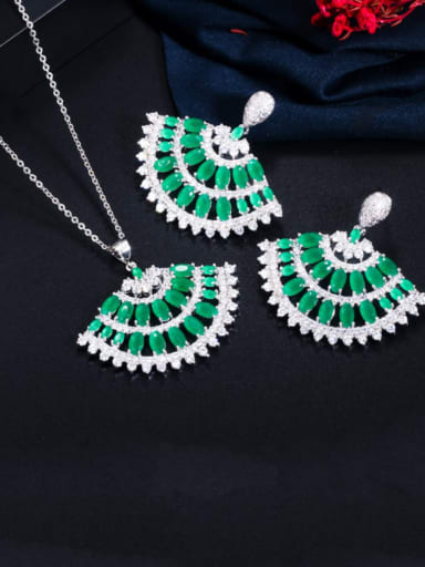 Green two piece set Copper Cubic Zirconia Luxury Irregular  Earring and Necklace Set
