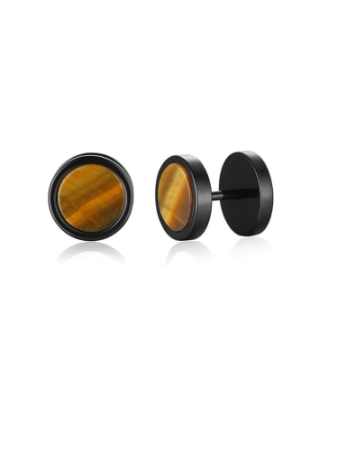 Tiger's Eye Stainless Steel With Turquoise Tiger Eye Blue Sandstone Dumbbell Men's Stud Earrings