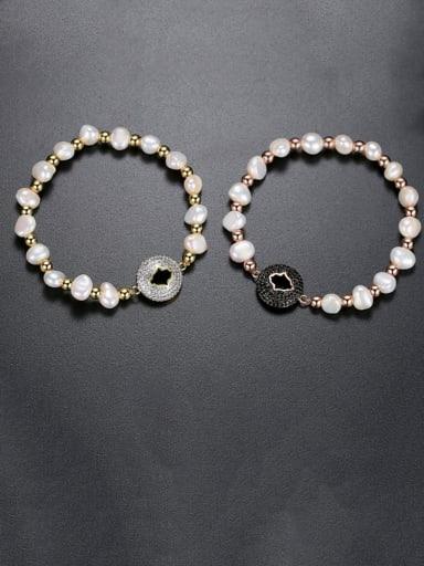 Copper Freshwater Pearl Round Minimalist Adjustable Bracelet