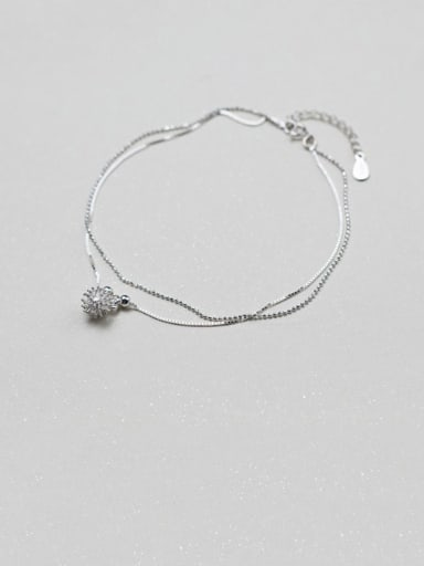 925 Sterling Silver  Minimalist  Rhinestone Flower Anklet
