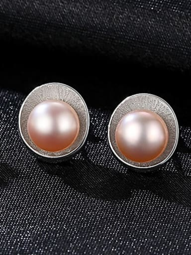 925 Sterling Silver Freshwater Pearl Multi Color Irregular Trend Stud Earring