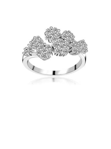 Copper Cubic Zirconia Flower Dainty Band Ring