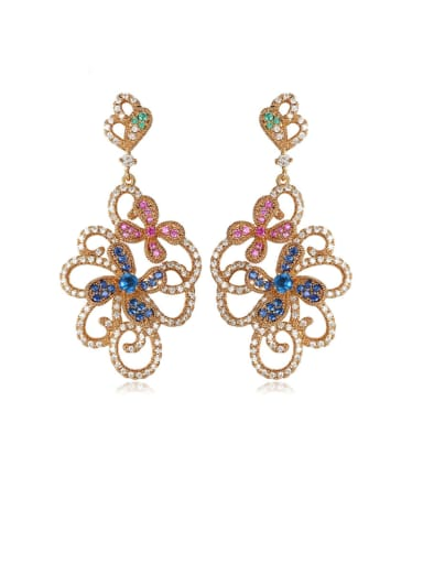 Color zirconium champagne gold t09c19 Copper Cubic Zirconia Flower Luxury Chandelier Earring