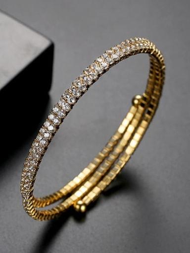 White zirconium plating 18K t14f17 Copper Cubic Zirconia Multi Color Round Luxury Bracelet