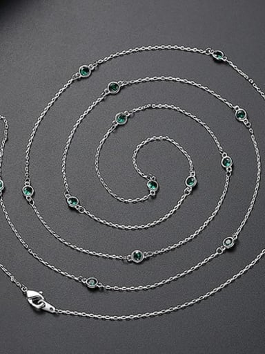 Green t10d21 Copper Cubic Zirconia  Minimalist China Long Strand Necklace