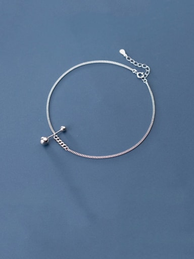 925 Sterling Silver  Minimalist  Asymmetrical bead lever  Anklet