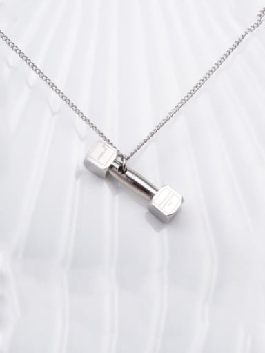 silvery Titanium Smooth Fashion Dumbbell Necklace