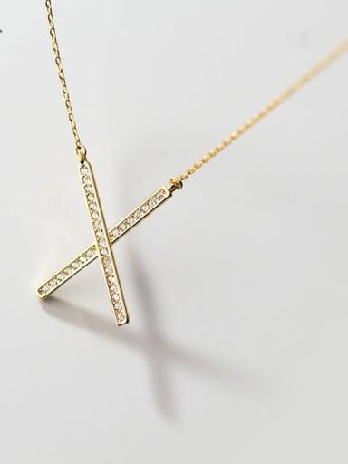 925 Sterling Silver Rhinestone Cross Minimalist Necklace
