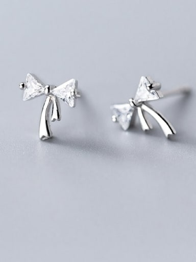 925 Sterling Silver Cubic Zirconia Bowknot Cute Stud Earring
