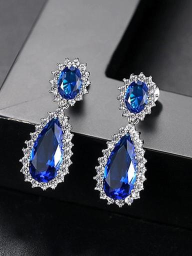 Sapphire t04d18 Copper Cubic Zirconia Minimalist  Water Drop Drop Earring
