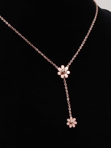 Titanium Bead White Flower Trend Lariat Necklace