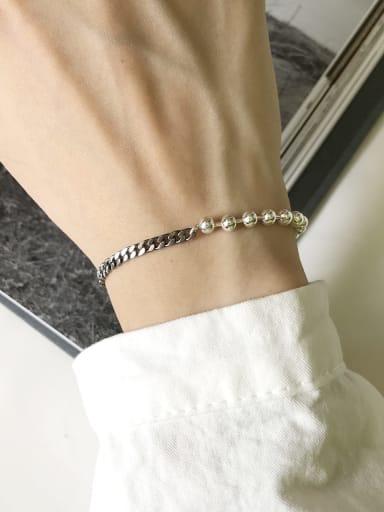 925 Sterling Silver Minimalist  Vintage N chain Beaded Bracelet