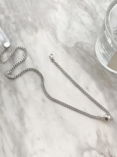 925 Sterling Silver Ball Vintage Link Necklace