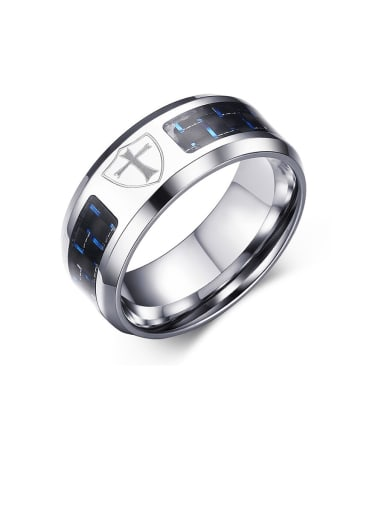 Stainless Steel With Blue Black Carbon Fiber Simple Men's Ring