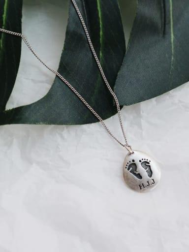 925 Sterling Silver Irregular Vintage footprint Initials Necklace