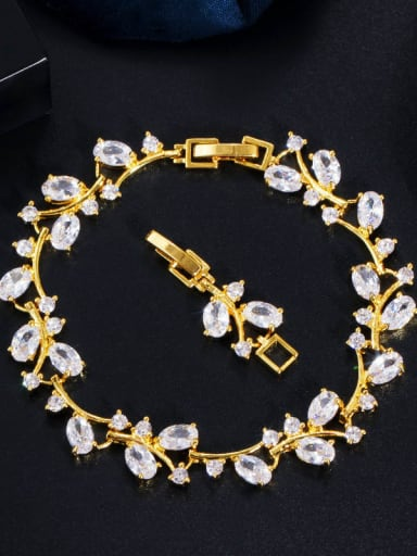 Gold white Copper Cubic Zirconia Leaf Luxury Bracelet